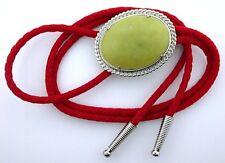 Olive Jade Gemstone Bola Bolo Tie Cord Tips