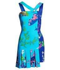 VERSACE for H&M HM BLUE ORIENTAL FLOWER PLEATED SILK DRESS US 6 UK 10 EU 36 BNWT
