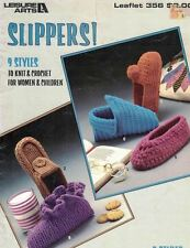 Leisure Arts 356 Slippers 9 Styles to Knit & Crochet for Men Women 1985 Vintage