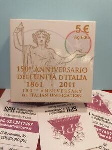 5 EURO FDC Moneta Argento 150° anniversario Unità D'Italia COFANETTO SPH #66