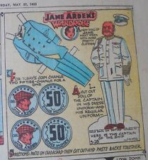 Jane Arden Sunday with Large Uncut Paper Doll from 5/28/1933 Full Size Page!