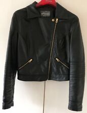 Internacionale Black Leather Jacket - Size 10 (Very Good Condition)