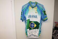 Men Cycling Jersey Brazil Flag Short Sleeves T-Shirt Sz 2XL