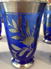 Cobalt blue and silver overlay vintage glasses 6 pieces