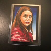 Scarlet Witch Marvel Avengers 1/1 hand drawn original art sketch card aceo