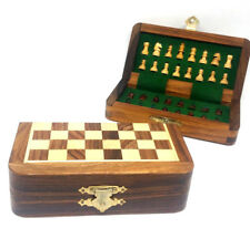 Chess Set Folding wooden Magnetic Travel chess set 5.5 X 5.5 In (13cm X 13cm)