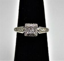 #6754 - Sparkling - 14k White Gold - Square Diamond Cluster Ring - Engagement