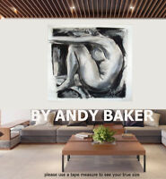 Original art painting print signed Andy Baker Beach Australia nude  abstract