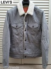 New LEVI'S trucker sherpa jacket lined grey gray canvas corduory jean slim S NWT