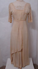 Vintage EDWARDIAN Gown Ecru Bias Cut Dolman Needle Lace Detail Asy Wedding XS