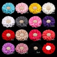 50pcs Ruffled Chiffon Artificial Fabric Flowers+Pearl For Baby Hair Accessories