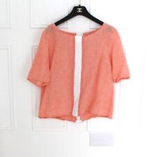 John Lewis Gingham Linen Coral Summer Boxy Custom Top 12 14