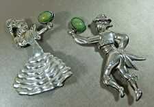 RARE OLD MEXICO STERLING SILVER GREEN STONE MEXICAN COUPLE DANCING BROOCH SET