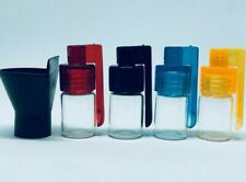 (Pack of 4) Small Snuff Tobacco Glass Vial Jar Bottles with Folding Lid Spoon UK