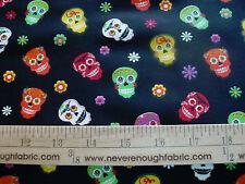 Cotton Fabric Fiesta Skulls Dia De Los Muertos Flowers Bright Sugar Skulls Bty