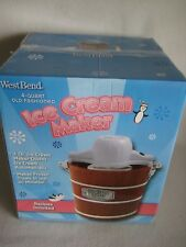 NIB West Bend 4 QT Old Fashioned Wood Electric Ice Cream Maker