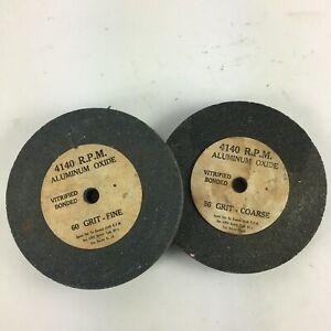 AluminumOxide Grain Abrasive Wheel 4140 R.PM 60Grit Fine 36 Grit Coarse Lot of 2