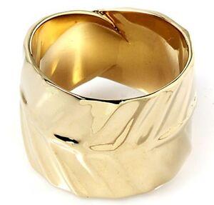 ELEGANT ROLL OLIVE LEAF GOLD BRASS BRONZE BIG RING