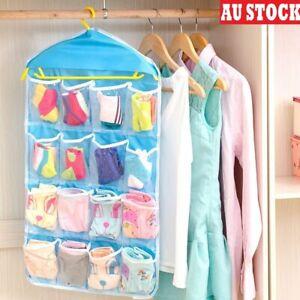 Storage Hanging Bag 16 Organizer Pockets Closet Door Wardrobe Hanger Holder Sock