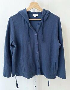 J. JILL Button Up Hooded Sweatshirt Pockets Cotton Linen Knit Indigo Blue M FLAW