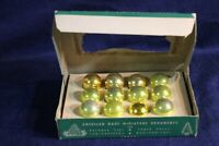 "VINTAGE Shiny Brite Mercury Glass Tree Ornaments Gold Mini 1""  Feather Tree USA"