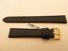BIRCH BLACK LEATHER 14MM WATCH STRAP BAND GOLD BUCKLE