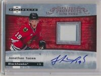 2007-08 Hot Prospects Prized Prospects Rookie AUTO Patch 249 Jonathan Toews /199