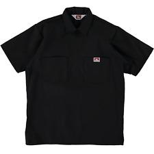 Ben Davis Short Sleeve Half Zip Work Shirt Solid Black