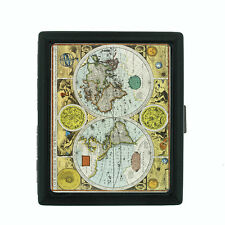 Vintage World Maps Themed D16 Small Black Cigarette Case Card Money Holder
