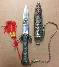 "Oriental Fantasy Dagger/Knife Empress on Throne illustration on Blade 4.5"" Blade"
