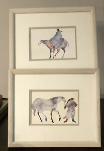 2 Carol Griggs Watercolor Art Pics Matted Framed Mother Moon She Walks W Horses