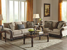 WILLETT Traditional Wood Trim Gray Chenille Sofa Couch Loveseat Set Living Room