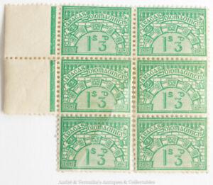 Ireland 1930's Unemployment Insurance STAMPS (6x) Irish Green Unused Part Sheet