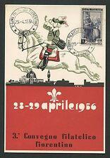 Italia 1956 mostra filatelica Firenze cartolina exposición especial mapa c9449