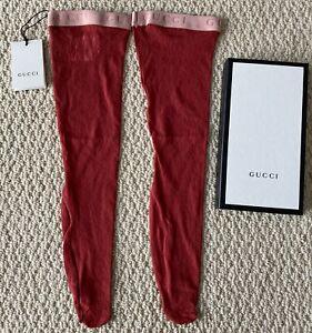 NWT Gucci Red GG Floral Lace Pink Logo Elastic Trim Stretch Calf Socks Sz M $350