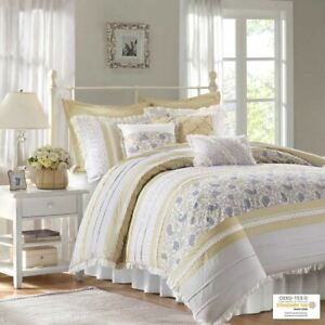 9pc Yellow Cottage Chic Lace Comforter Set AND Decorative Pillows