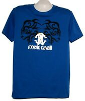 Roberto Cavalli  Blue Black Gold Logo Design Men's Cotton Shirt T-Shirt Sz 2XL