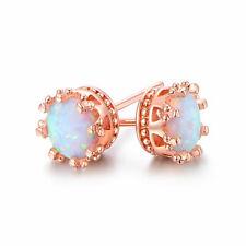 NEW! Fire Opal Crown Stud Earrings in 18K Rose Gold Plated