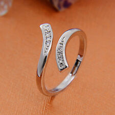 "925 Sterling Silver Crystal Criss-Cross ""X"" Wedding Rings Unisex Stylish Jewelry"