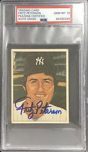 Fritz Peterson Signed 1983 TCMA #33 Card 50 Years of Yankees PSA/DNA Auto Gem 10