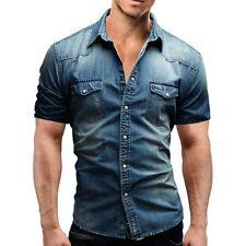 Fashion Men's Casual Shirt Slim Fit Short Sleeve Dress Denim Shirt Jeans Tops