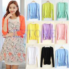 Women Korean Casual Long Sleeve Knit Cardigan Tops Knitwear Coat Jacket Outwear