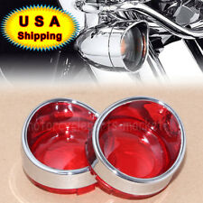 2X Chrome Visor Bezel and Red Lens Deuce-Style Turn Signals for  Harley Models