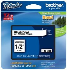 "Brother 1/2"" (12mm) Black on White P-touch Tape for PT2100, PT-2100 Label Maker"