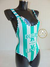 Vintage 80 DUBIN Costume Intero M 44 Mare Piscina Donna Italy Bianco Righe Verde