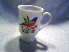 "GREEN,BLUE,ORANGE BIRD CUP Made In Japan 4 1/2"" tall,coffee,flowers,willows"