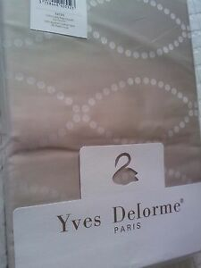 Yves Delorme POINTS CAFE CREME SATIN Double FLAT Sheet LUXURY
