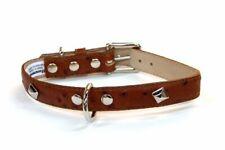 Bluemax Genuine Leather Ostrich Print Dog Collar with Pyramid Stud, 3/4-Inch .