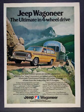 1974 AMC Jeep Wagoneer towing airstream color art vintage print Ad