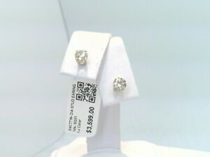 $3600 WOW 3/4CTTW CT REAL Diamond Stud Earrings 14k SOLID WHITE Gold NO RESERVE